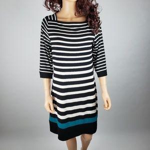 White House Black Market Striped Shift 3/4 Dress